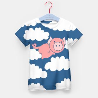 Miniatur When pigs fly flying pig Kid's T-shirt, Live Heroes
