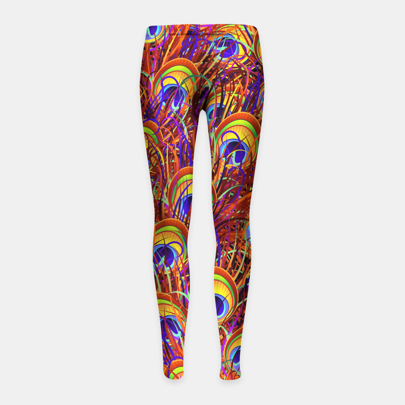 Image of Peacock Feathers Colorful Pattern  Girl's Leggings - Live Heroes