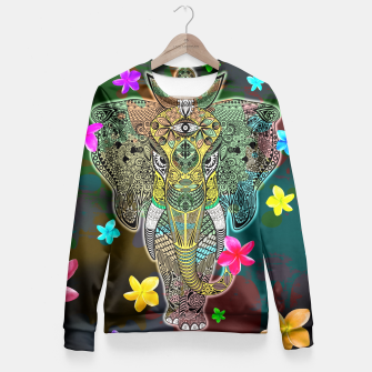 Thumbnail image of Elephant Zentangle Doodle Art  Fitted Waist Sweater, Live Heroes