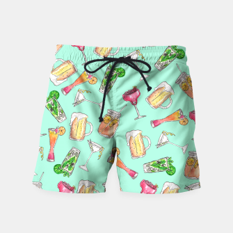 Miniatur Fun Summer Watercolor Painted Mixed Drinks Pattern Swim Shorts, Live Heroes