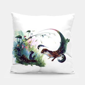 Thumbnail image of girl & otter Pillow, Live Heroes