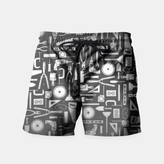 Thumbnail image of Black & Silver Workshop Tools Swim Shorts, Live Heroes