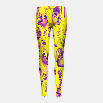 Carnivore HOT PINK & YELLOW Girl's Leggings Bild der Miniatur