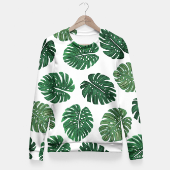 Miniatur Swiss Cheese Green Watercolor Foliage Pattern  Fitted Waist Sweater, Live Heroes