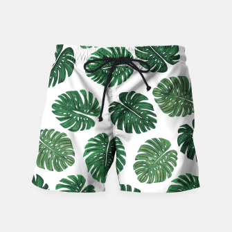 Miniatur Swiss Cheese Green Watercolor Foliage Pattern  Swim Shorts, Live Heroes