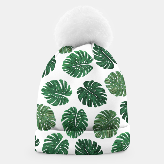 Miniatur Swiss Cheese Green Watercolor Foliage Pattern  Beanie, Live Heroes