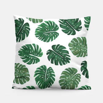 Miniatur Swiss Cheese Green Watercolor Foliage Pattern  Pillow, Live Heroes