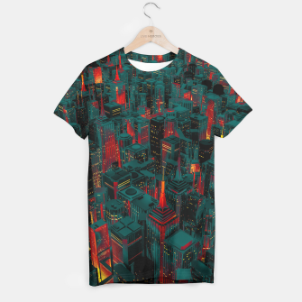 Thumbnail image of Night city glow cartoon T-shirt, Live Heroes