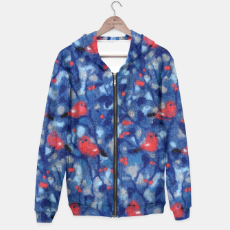 Thumbnail image of The Bullfinches, blue & red, winter forest, birds pattern  Hoodie, Live Heroes