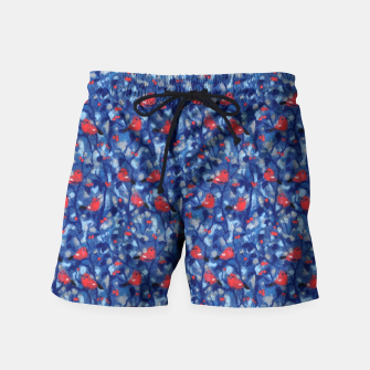 Thumbnail image of The Bullfinches, blue & red, winter forest, birds pattern Swim Shorts, Live Heroes