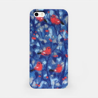 Miniatur The Bullfinches, blue & red, winter forest, birds pattern iPhone Case, Live Heroes