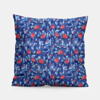 Miniatur The Bullfinches, blue & red, winter forest, birds pattern Pillow, Live Heroes