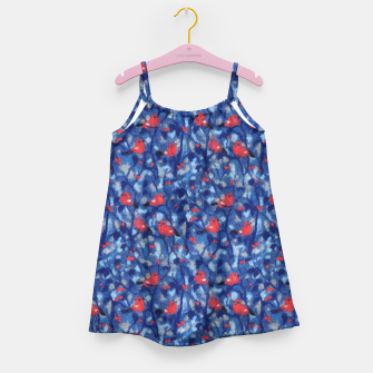 Miniatur The Bullfinches, blue & red, winter forest, birds pattern Girl's Dress, Live Heroes