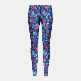 Miniatur The Bullfinches, blue & red, winter forest, birds pattern Girl's Leggings, Live Heroes