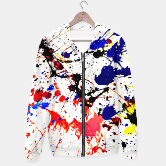 Blue Red Black Paint Splatter Hoodie thumbnail image