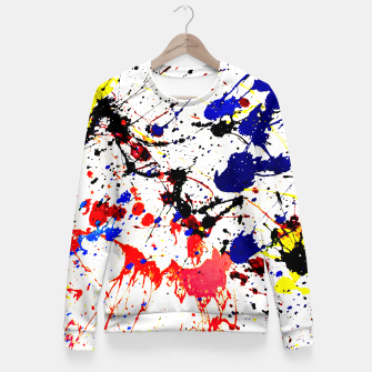 Blue Red Black Paint Splatter Fitted Waist Sweater thumbnail image