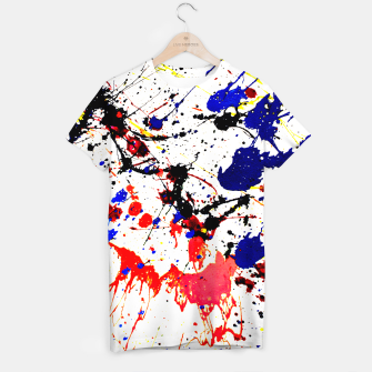 Blue Red Black Paint Splatter T-shirt thumbnail image