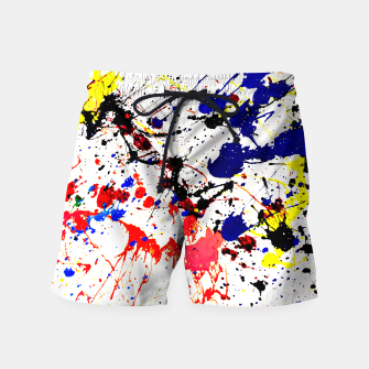 Blue Red Black Paint Splatter Swim Shorts thumbnail image