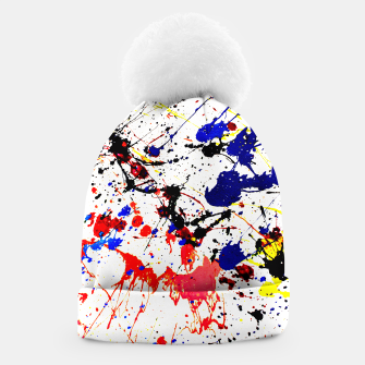 Blue Red Black Paint Splatter Beanie thumbnail image