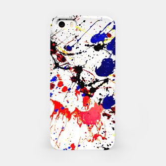 Blue Red Black Paint Splatter iPhone Case thumbnail image