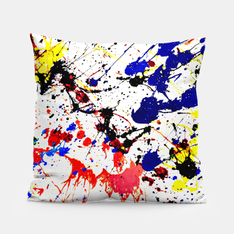 Blue Red Black Paint Splatter Pillow thumbnail image