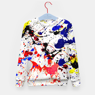 Blue Red Black Paint Splatter Kid's Sweater thumbnail image