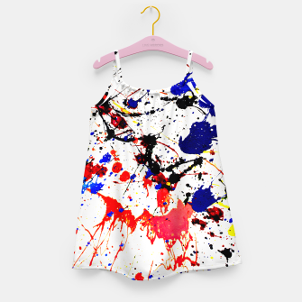 Blue Red Black Paint Splatter Girl's Dress thumbnail image
