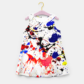 Blue Red Black Paint Splatter Girl's Summer Dress thumbnail image