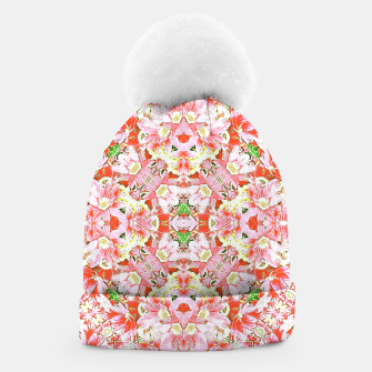 K196 Abstract Pink Flowers  Beanie thumbnail image
