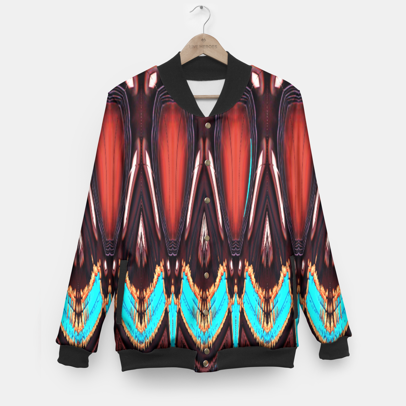 Image of K172 Wood and Turquoise Abstract Baseball Jacket - Live Heroes