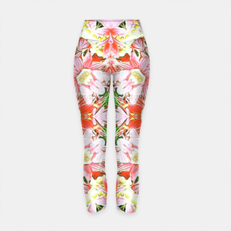 K196 Abstract Pink Flowers  Yoga Pants thumbnail image
