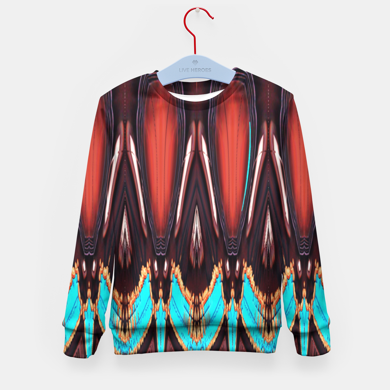 Image of K172 Wood and Turquoise Abstract Kid's Sweater - Live Heroes