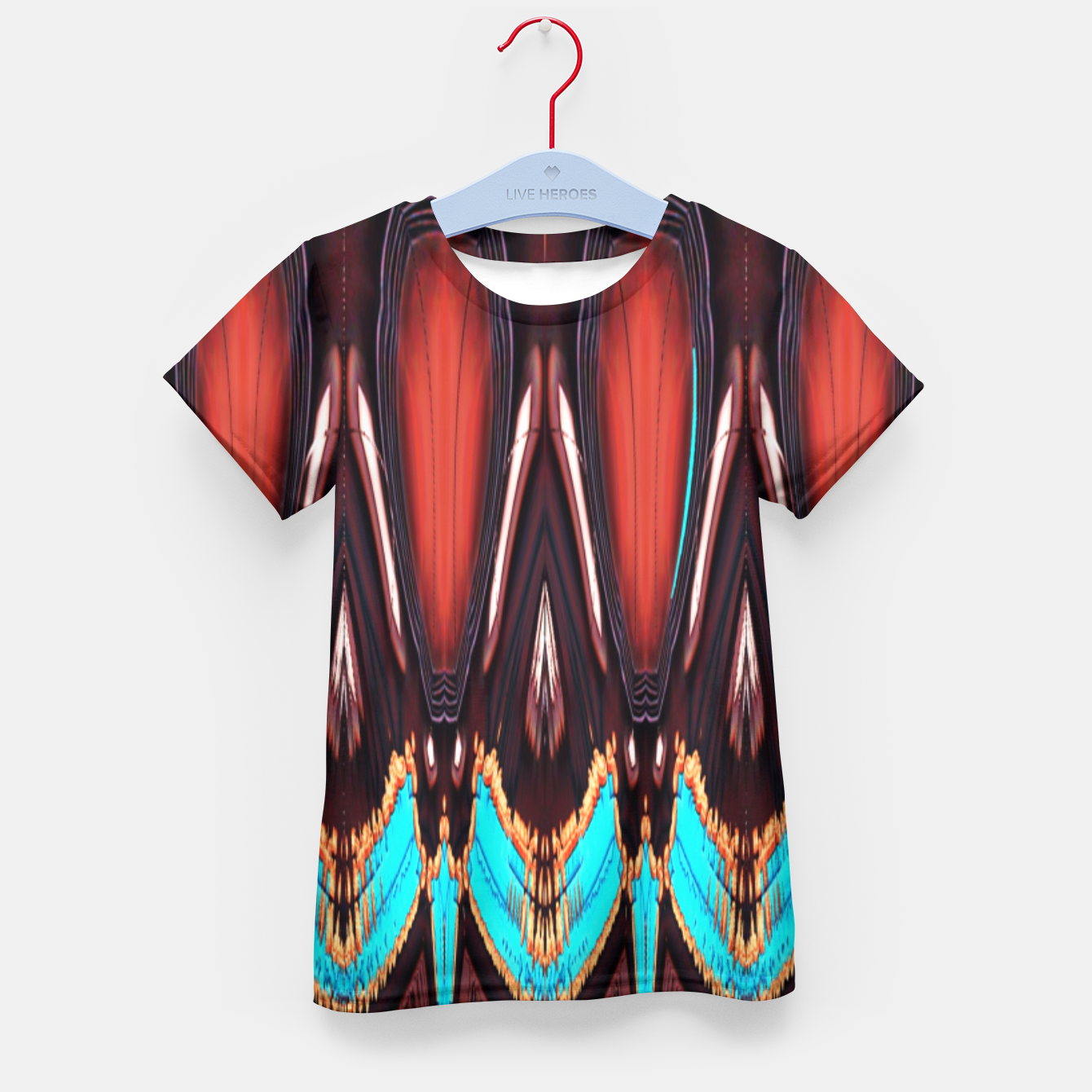 Image of K172 Wood and Turquoise Abstract Kid's T-shirt - Live Heroes