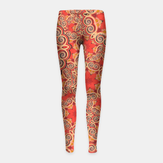 Gold 'n Rusty Curls Abstract  Girl's Leggings thumbnail image