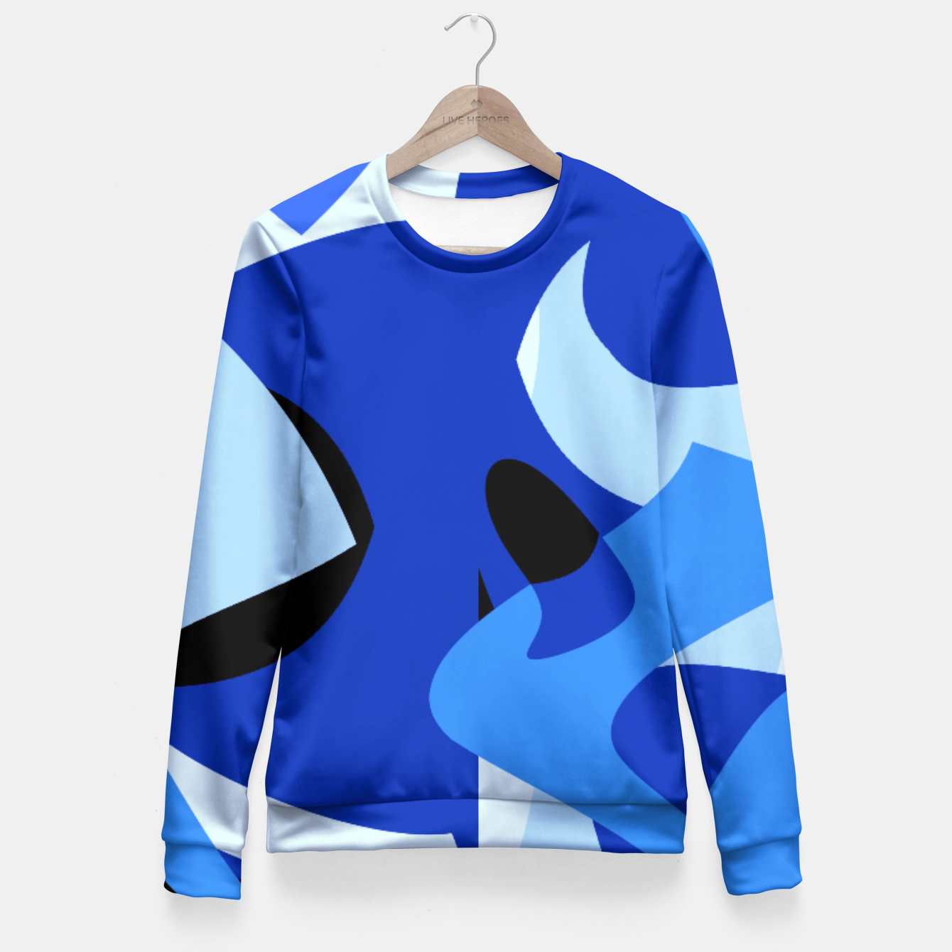 Image of A-201 Abstract Blues Combo   Fitted Waist Sweater - Live Heroes