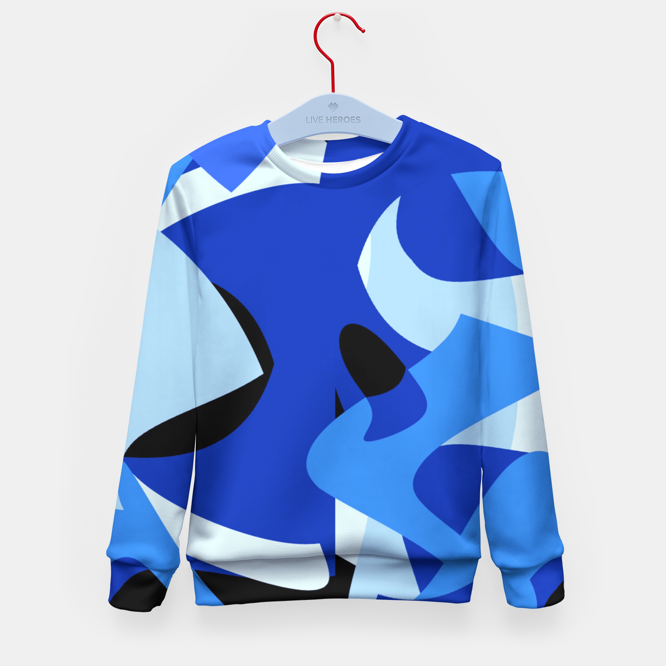 Image of A-201 Abstract Blues Combo   Kid's Sweater - Live Heroes