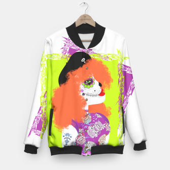 Thumbnail image of Day Of The Dead  Funky Red Head Baseball Jacket, Live Heroes