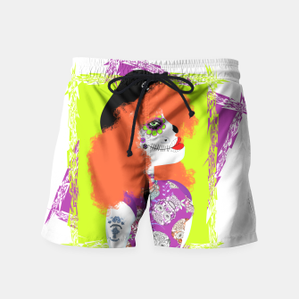 Thumbnail image of Day Of The Dead  Funky Red Head Swim Shorts, Live Heroes