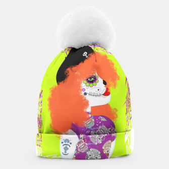 Thumbnail image of Day Of The Dead  Funky Red Head Beanie, Live Heroes