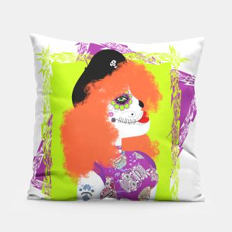 Thumbnail image of Day Of The Dead  Funky Red Head Pillow, Live Heroes