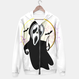 Thumbnail image of Screaming White Ghost Face Haunting Graphic Hoodie, Live Heroes