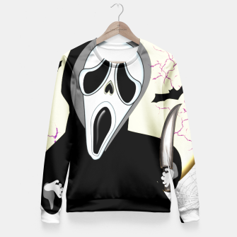 Thumbnail image of Screaming White Ghost Face Haunting Graphic Fitted Waist Sweater, Live Heroes