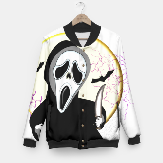 Thumbnail image of Screaming White Ghost Face Haunting Graphic Baseball Jacket, Live Heroes
