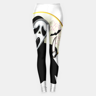 Thumbnail image of Screaming White Ghost Face Haunting Graphic Leggings, Live Heroes