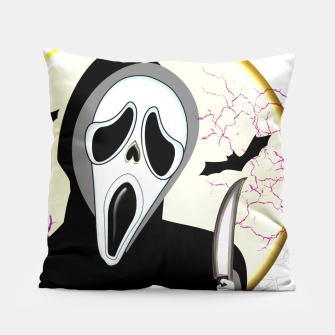 Thumbnail image of Screaming White Ghost Face Haunting Graphic Pillow, Live Heroes