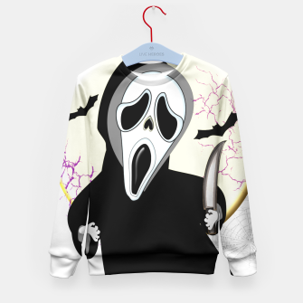 Thumbnail image of Screaming White Ghost Face Haunting Graphic Kid's Sweater, Live Heroes