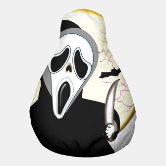 Thumbnail image of Screaming White Ghost Face Haunting Graphic Pouf, Live Heroes