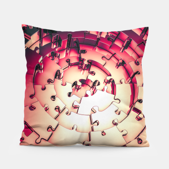 Thumbnail image of Metal Puzzle RETRO RED Pillow, Live Heroes