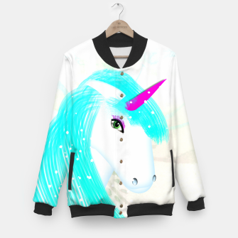 Thumbnail image of Whimsical Fantasy Unicorn Graphic Baseball Jacket, Live Heroes