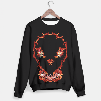 Miniatur Flaming Skull Gothic Art Sweater, Live Heroes